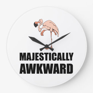 Majestically Awkward Flamingo Clock