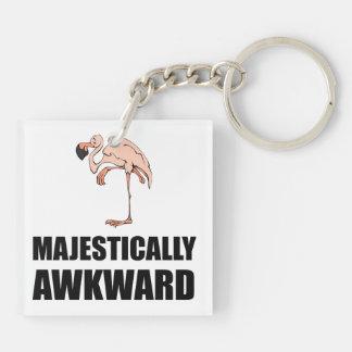 Majestically Awkward Flamingo Double-Sided Square Acrylic Keychain