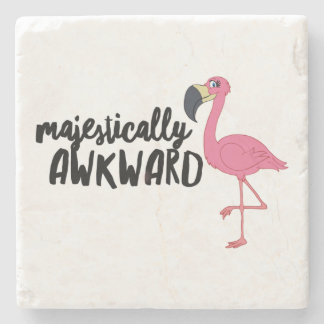 Majestically Awkward Flamingo Marble Stone Coaster