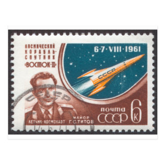 Major G.S. Titov and Vostk 2 Postcard