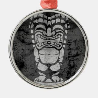 Makapuu Beach Hawaiian Laughing Tiki Batik Metal Ornament