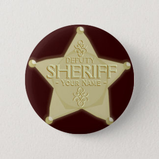 Make a Deputy Sheriff Badge Golden 2 Inch Round Button