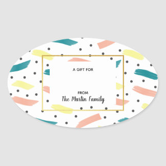 Make A Splash Abstract Oval Gift Tag Stickers