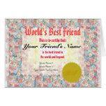 Make a World's Best Friend Certificate Greeting Card