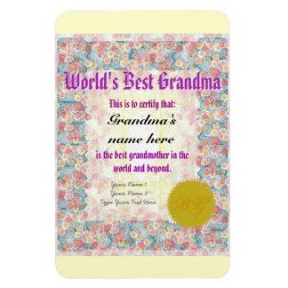 Make a World's Best Grandma Award Certificate Rectangular Photo Magnet