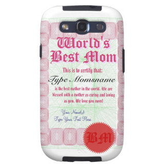 Make a World's Best Mom Certicate Samsung Galaxy S3 Cover
