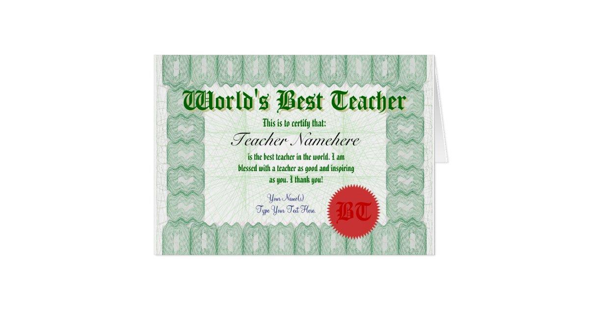 Make A Worlds Best Teacher Certificate Award Card Zazzle