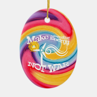 Make Alternative Energy Not War Tie Dye Ceramic Ornament
