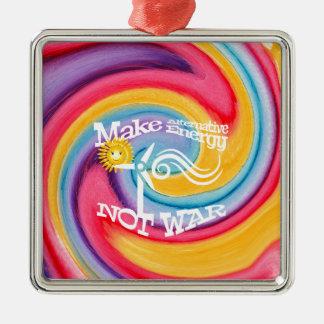 Make Alternative Energy Not War Tie Dye Metal Ornament