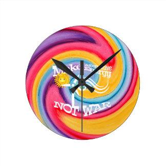 Make Alternative Energy Not War Tie Dye Round Clock