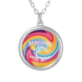 Make Alternative Energy Not War Tie Dye Silver Plated Necklace