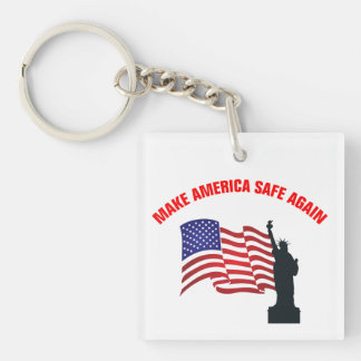 Make America Safe Again Double-Sided Square Acrylic Keychain