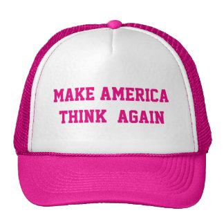 MAKE AMERICA  THINK  AGAIN TRUCKER HAT