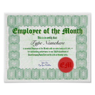 Make an Employee of the Month Certicate Award Poster