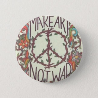 MAKE ART NOT WAR swipes in 2 Inch Round Button