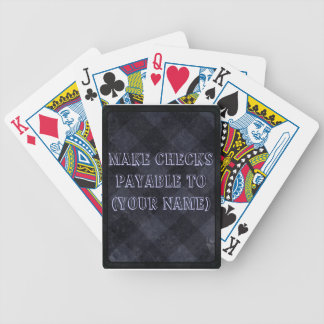 Make Check Payable To- Purple Checkered Bicycle Playing Cards
