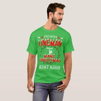 Make Christmas Great Lineman Gift Tshirt