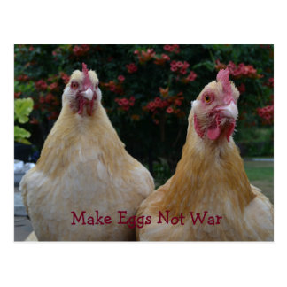 Make Eggs Not War... Buff Orpington Hens Postcard