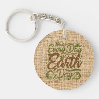 Make Every Day Earth Day - Circle Keychain