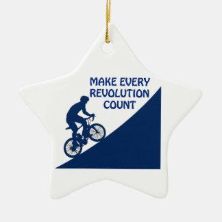 Make every revolution count ceramic star ornament