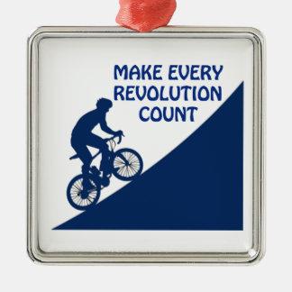 Make every revolution count Silver-Colored square ornament