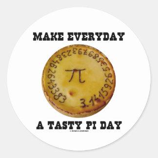 Make Everyday A Tasty Pi Day (Pi On Baked Pie) Round Sticker
