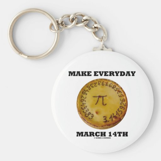 Make Everyday March 14th (Pi / Pie Math Humor) Keychains