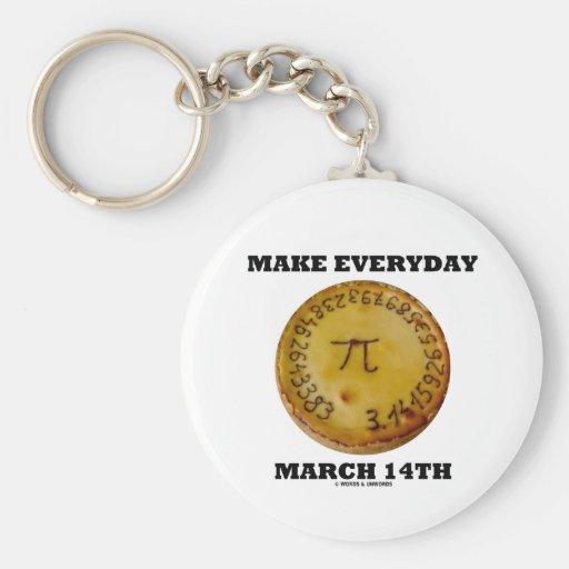 Make Everyday March 14th (Pi / Pie Math Humor) Keychain