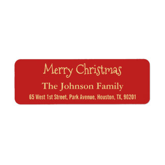 Make Faux Gold Red Merry Christmas Return Address