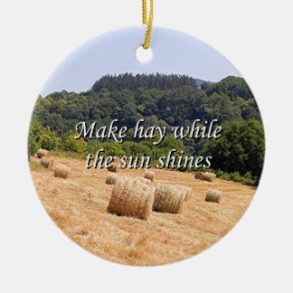 Make hay while the sun shines hay bales,Spain Ceramic Ornament