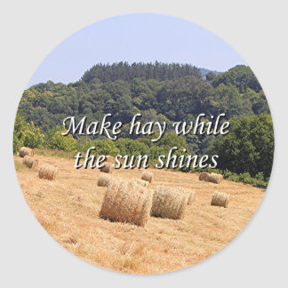 Make hay while the sun shines hay bales,Spain Classic Round Sticker