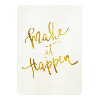 Make It Happen Gold Faux Foil Metallic Motivationa Card
