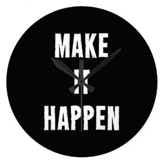 Make It Happen Motivational Black Large Clock