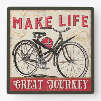 Make Life a Great Journey Quote Square Wall Clock