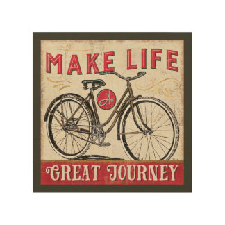 Make Life a Great Journey Quote Wood Print