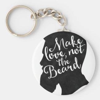 Make love not the beard - silhouette basic round button keychain