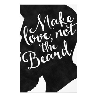 Make love not the beard - silhouette stationery