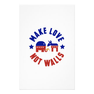 Make love, not walls trump funny one liner personalized stationery