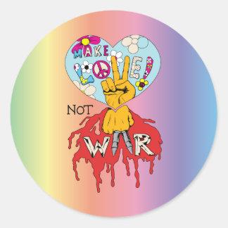 Make Love Not War 2 ~ 60s Hippie Peace Sign Sticker
