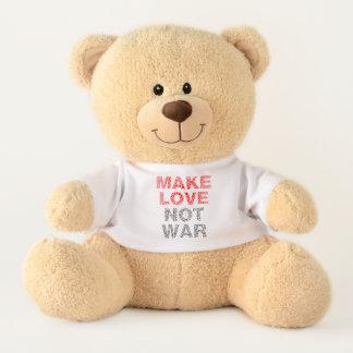Make Love Not War Typography Teddy Bear
