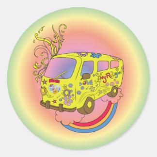 Make Love Not War Van ~ 60s Hippie Peace Sign Round Sticker