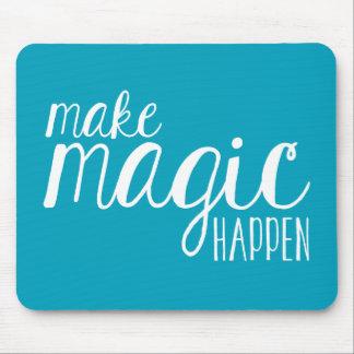 Make Magic Happen Teal Typography Mousepad