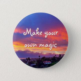 """Make magic"" quote pink yellow blue sunrise photo 2 Inch Round Button"
