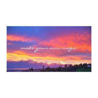 """Make Magic"" Quote Pink Yellow Blue Sunrise Photo Canvas Print"