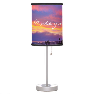 """Make Magic"" Quote Pink Yellow Blue Sunrise Photo Table Lamp"