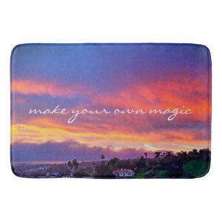"""Make Magic"" Quote Yellow Pink Blue Sunrise Photo Bath Mat"