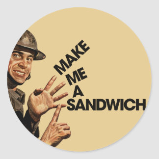 Make me a sandwich classic round sticker