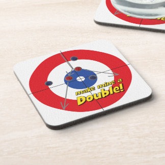 """Make mine a Double"" Curler's Coasters - (Red)"