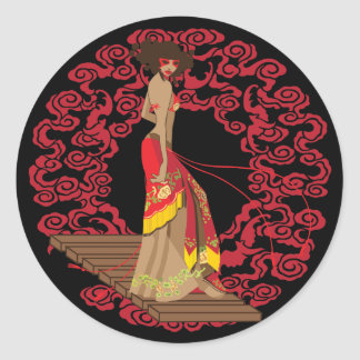 Make My Geisha Funky Classic Round Sticker