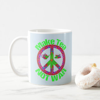 Make Tea Not War Vintage Look Hippie Peace Mug